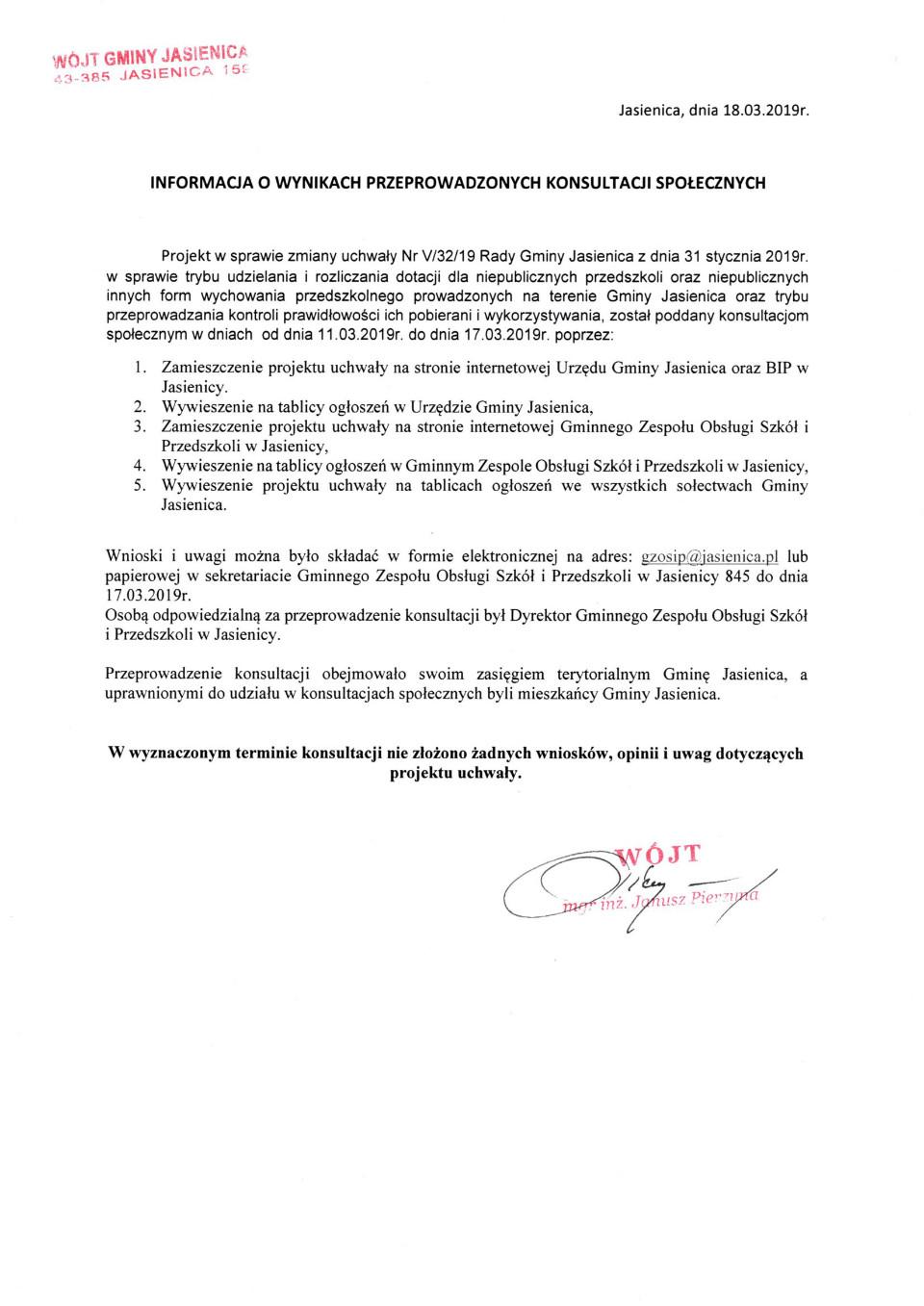 Informacja o wynikach przeprowadzonych konsultacji społecznych